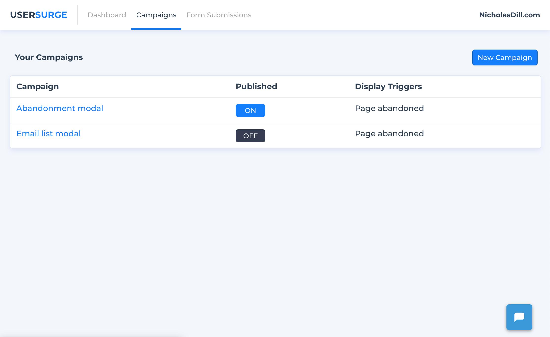 UserSurge publish campaign